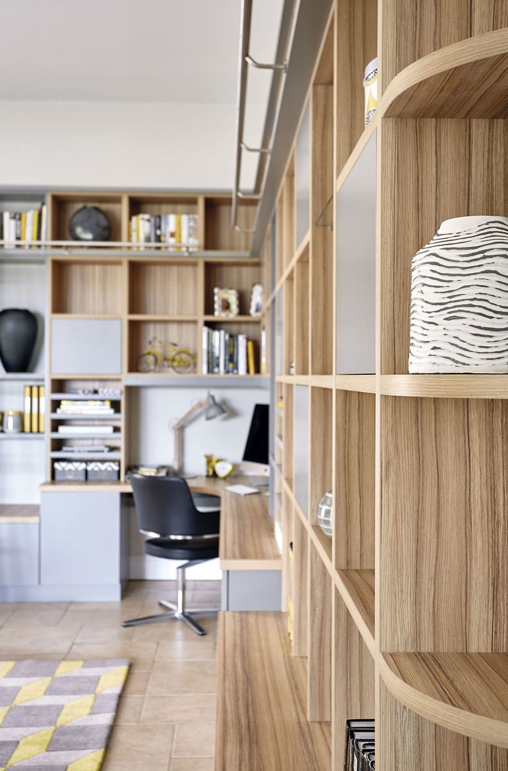 Library Room Ideas For Small Spaces: Grey Modern Library & Study