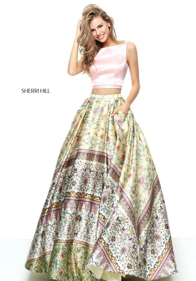 Sherri hill pink yellow prom and dress skirt