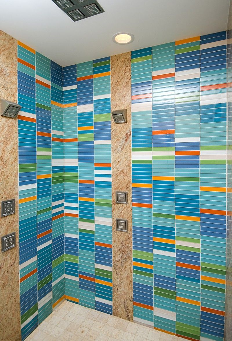 Glass Tile Design in Multicolor for Dramatic Shower | Areas & Rooms ...