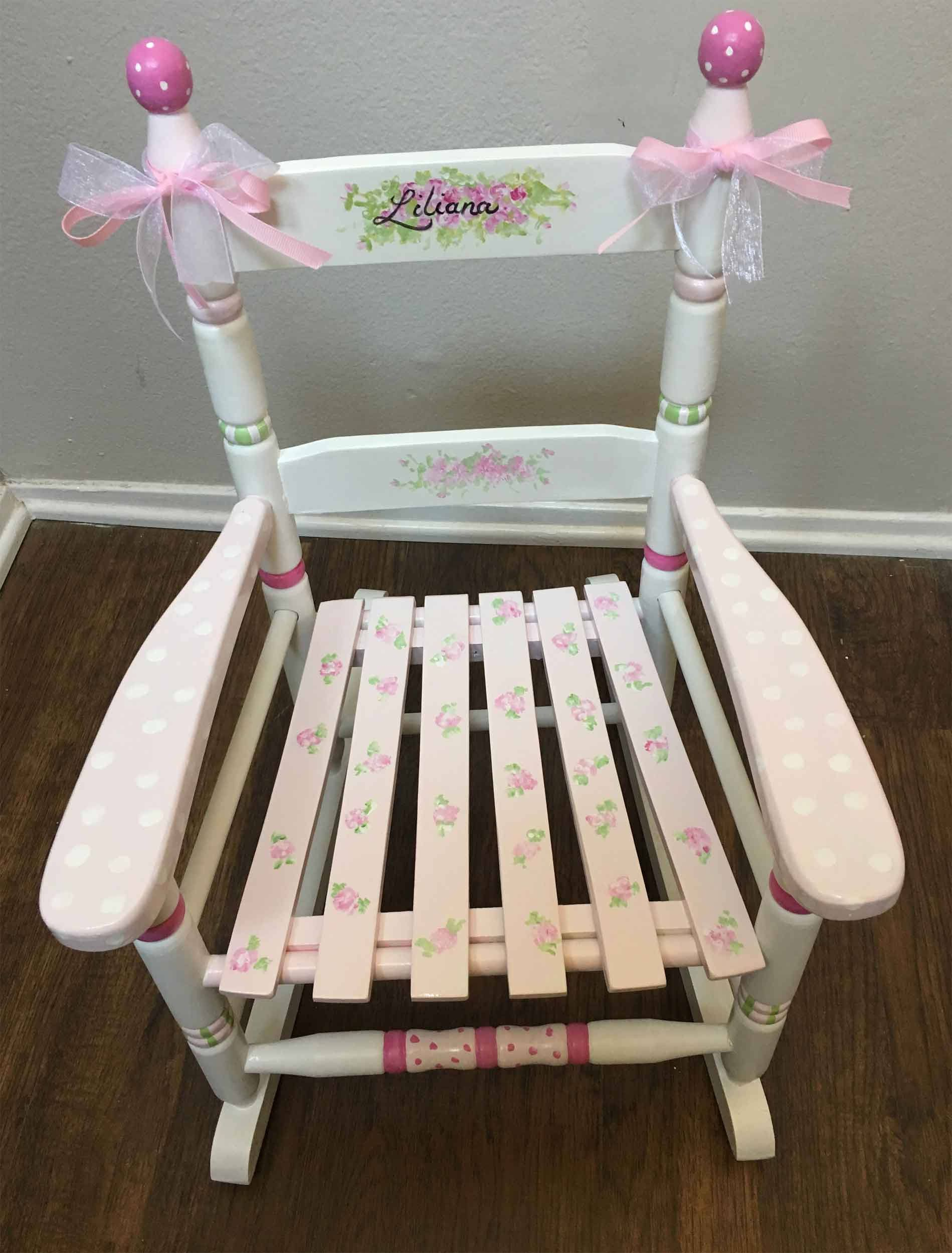 Pink Flower Cottage Rocker S Rocking Chair Hand Painted Child By Babydreamdecor On Etsy