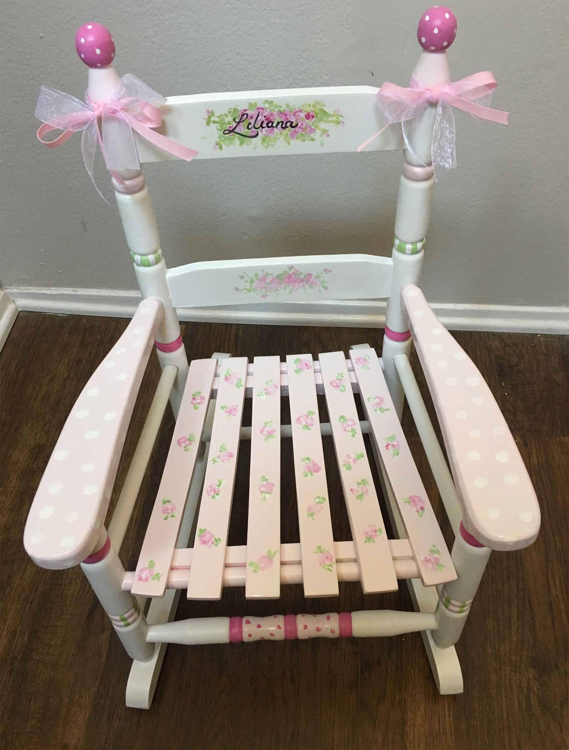 pink flower cottage rocker girls rocking chair hand painted