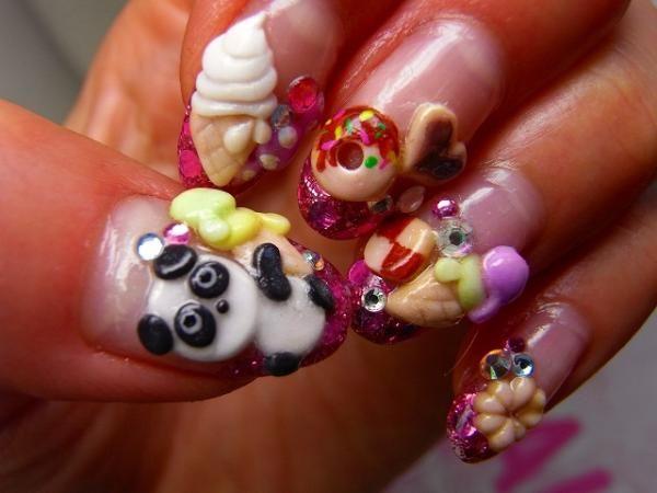 35 Cool 3d Nail Art Artistic Nails Design Panda Nail Art Food
