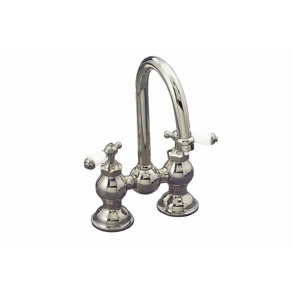 Columbia Bridge Style Faucet Set With Gooseneck Spout 4 Inch
