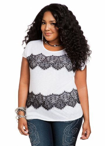 d205d5bf6b379 Ashley Stewart Women s Plus Size Lace Applique Top  List Price   29.50 - Buy  New   17.70