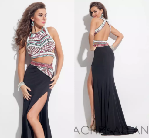 Sexy 2016 Black Beaded 2 Piece Prom Dresses Backless Mermaid Side ...