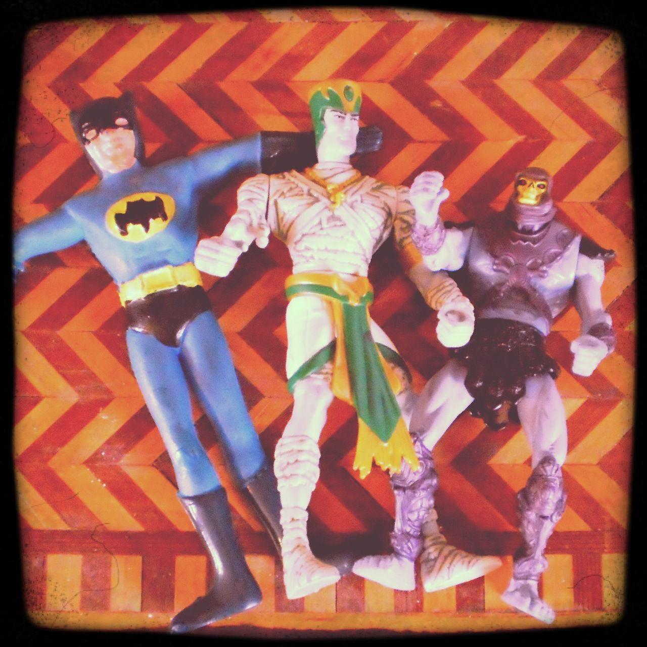 Some great Flea Market finds - a knock-off Batman, Mummies Alive!'s Rath, and a tiny headed Skeletor.