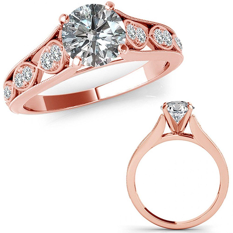 1.15 Carat Diamond Filigree Solitaire Halo Engagement