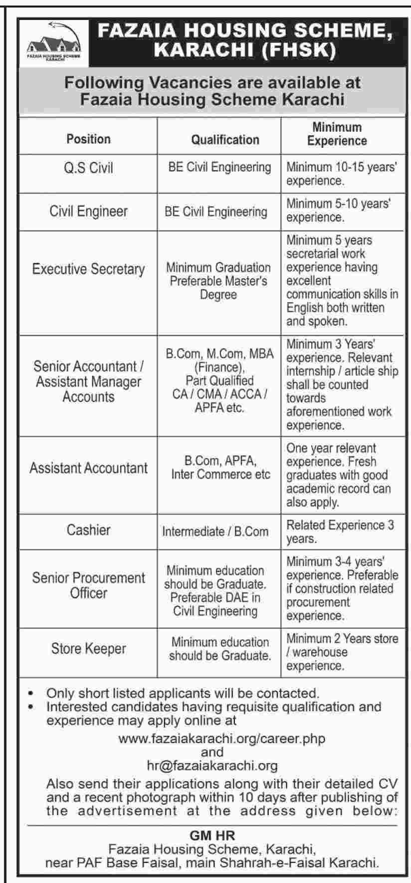 Fazaia Housing Scheme Karachi Fhsk Jobs  VacanciesPositions