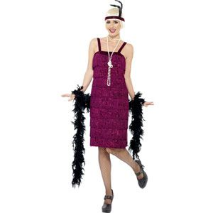 Jazz Flapper Costume Burgundy With Dress And Headpiece Womens X-Large