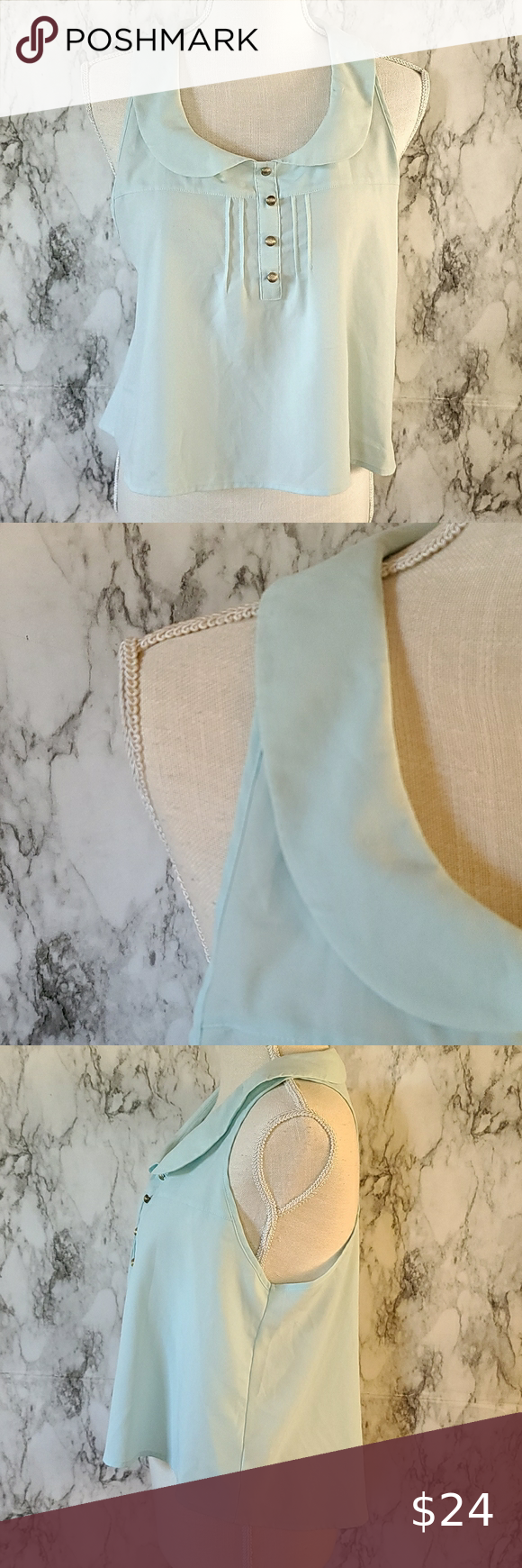 Newold cropped blouse size large Simply adorable pale aqua peter pan collar pintuck crop top size large 18