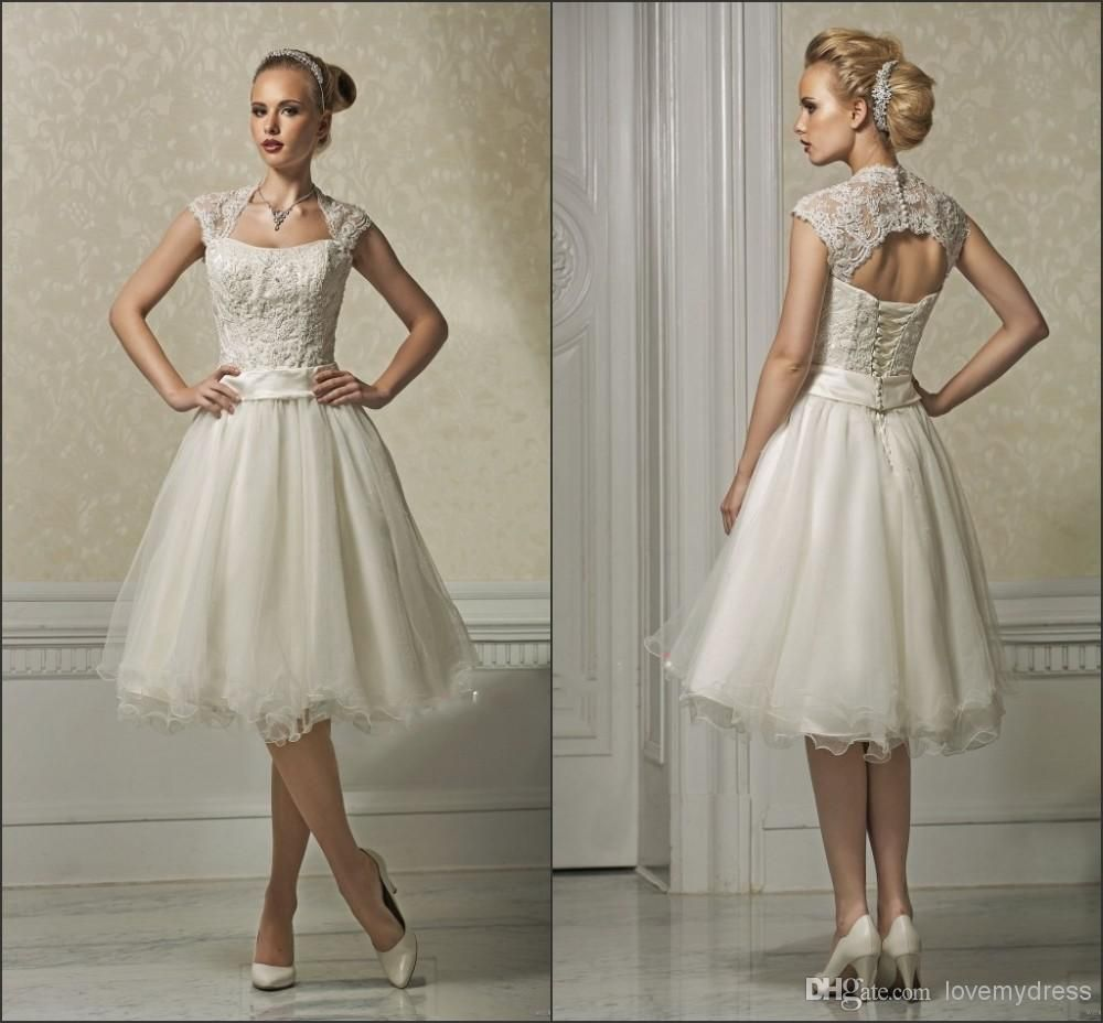 Short wedding dresses appliques lace tea length with jacket elegant