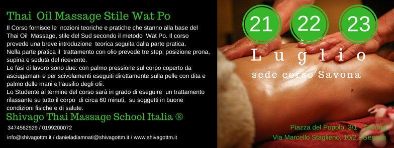 Traditional Oil Massage | Stile Wat Po Luglio
