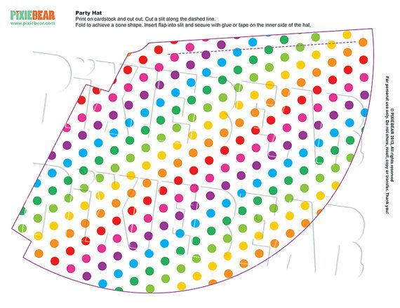 Rainbow Birthday Hat - Rainbow Party Printable Party Hat for - party hat template