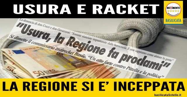 La crisi continua a mordere ma la Regione Basilicata si inceppa anche sulla lotta all'usura e al racket.