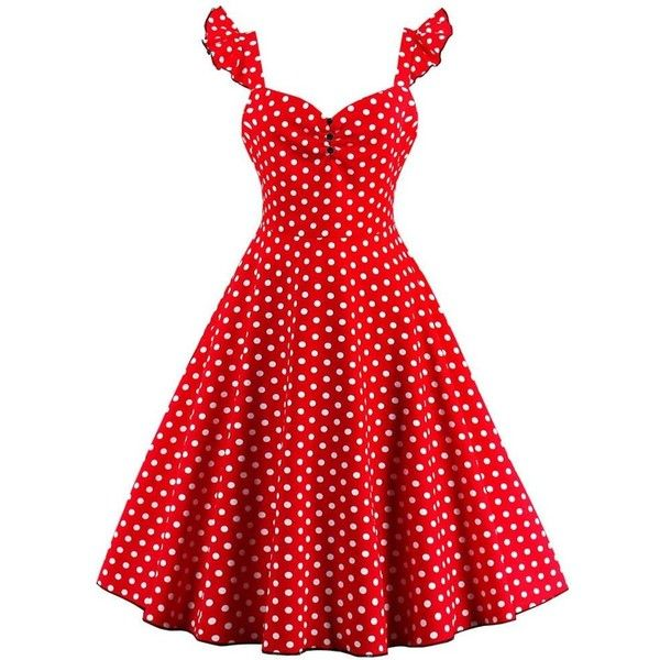 Polka Dot Buttoned Pin Up Rockabilly Swing Dress ($20) ❤ liked on Polyvore  featuring dresses, red pinup dress, pinup dresses, pin up dresses, tent …