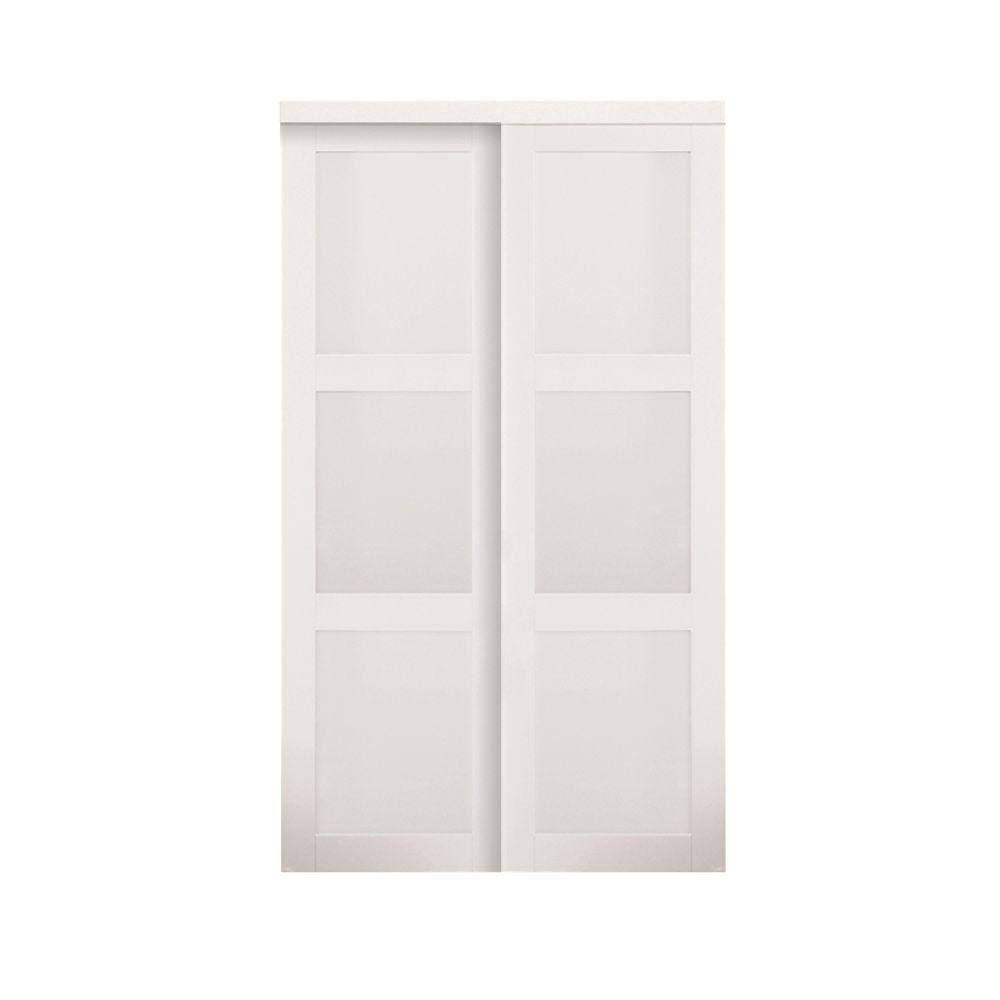 Sliding Doors Truporte Grand Doors 72 In X 80 In Series Composite White 3 Lite Tempered Frost Sliding Closet Doors Sliding Doors Interior Barn Doors Sliding