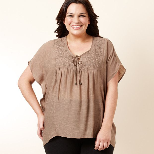 MODA Embroidered Peasant Blouse - Brown