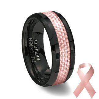 Black Ceramic Pink Carbon Fiber Ring Pink Wedding Band Black Ceramic Ring Mens Wedding Rings Tungsten Pink Ring