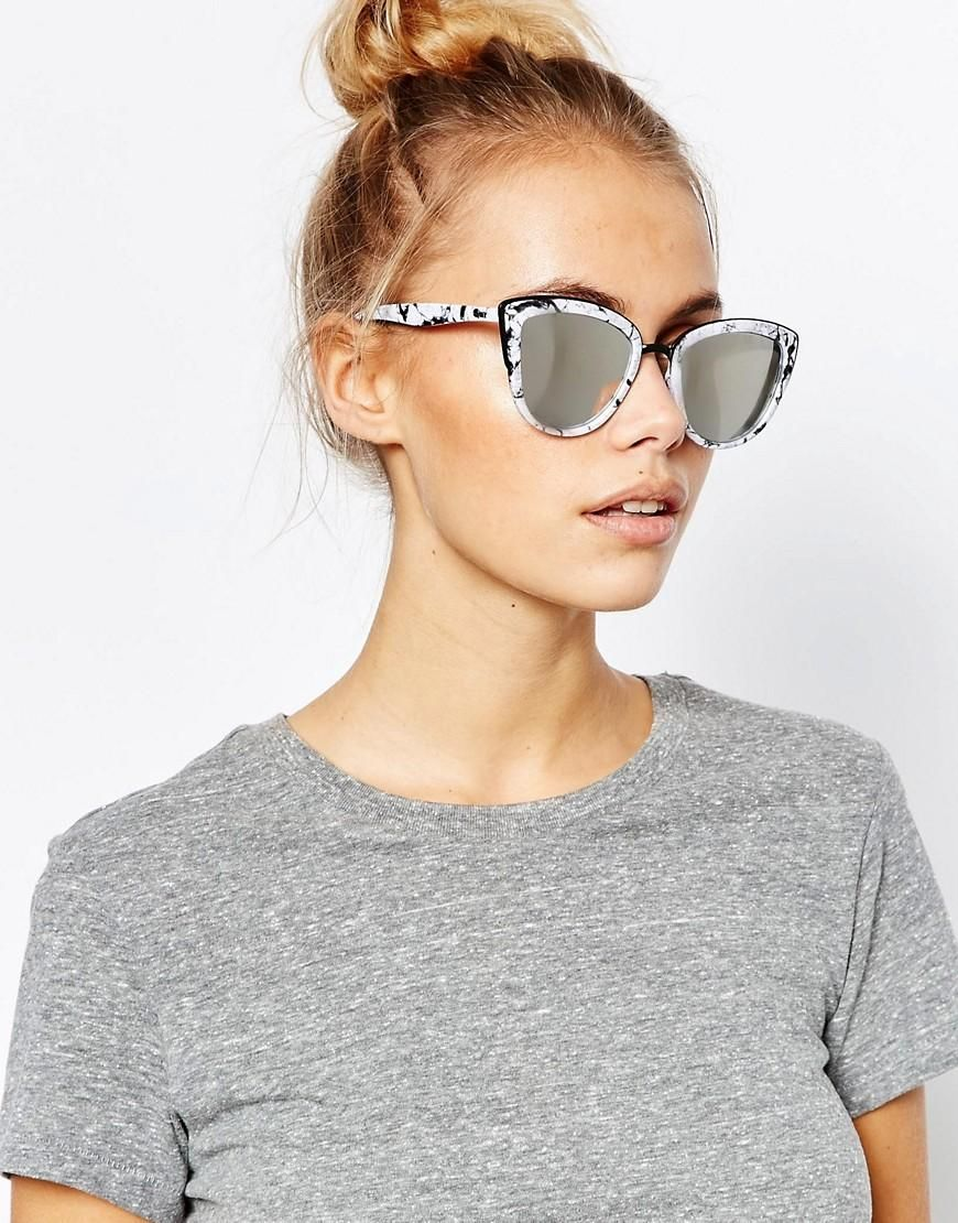 9ec64300fe34 Quay Australia | Quay Australia My Girl Exclusive Mirror Cat Eye Sunglasses  in Marble Frame at ASOS
