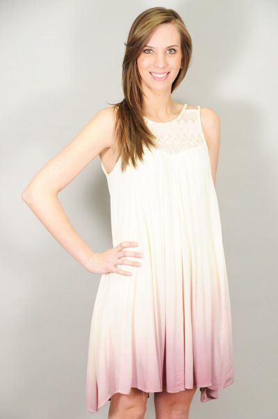 DRESSES > Print > Lilac Dip Dye Lace Detail Baby Doll Dress