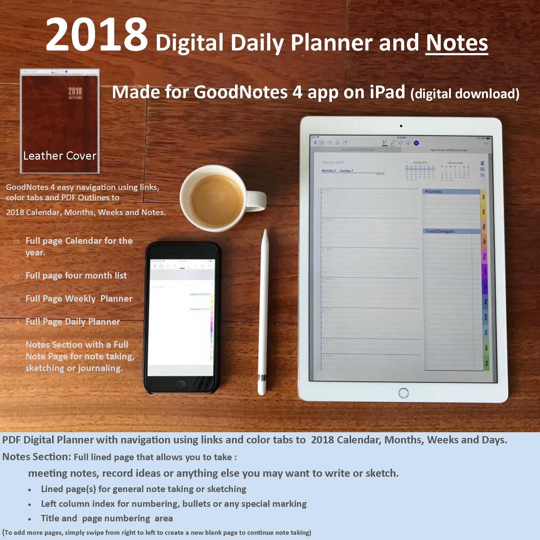2018 Digital Planner and Journal for GoodNotes 4 app on iPad