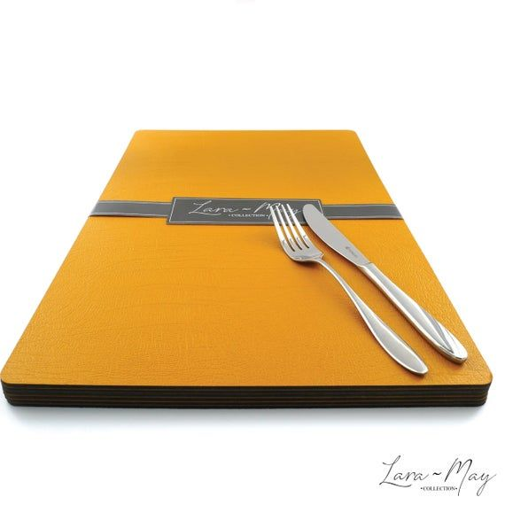 Large Leather Place Mats Sets Of 8 Mustard Yellow Table Mats Made In The Uk Ideal Place Mat Gift Placematsets Table Yellow Placemats Bbq Table Yellow Table