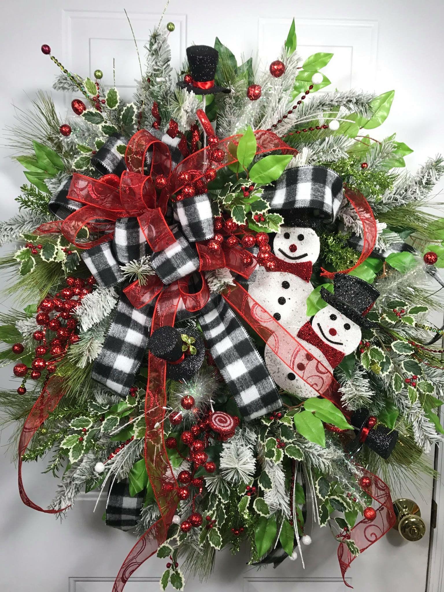 Snowman Wreath Christmas Wreath Seasonal Door Decor Holiday By Ladybug