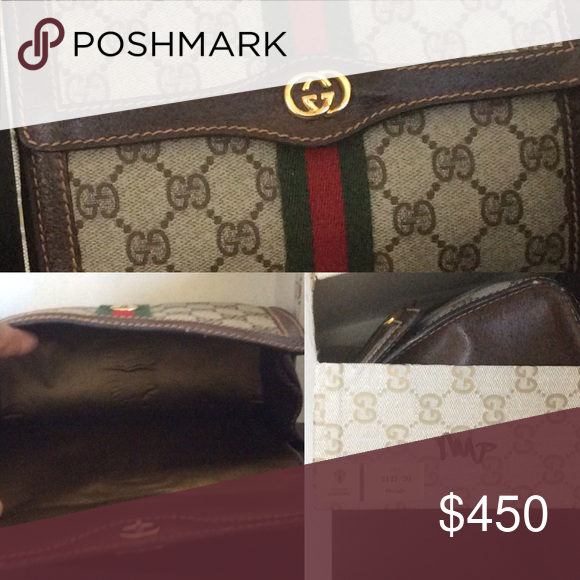 4dc523d45593 Gucci Canvas Monogram Cosmetic Case Classic Gucci Cosmetic Case with its  original box. The interior is a brown nylon and in new condition.