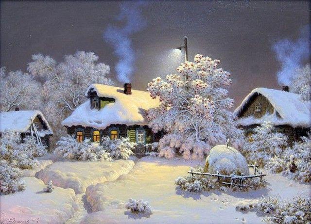 Новый год к нам мчится!... | Пейзажи, Картины, Картины маслом