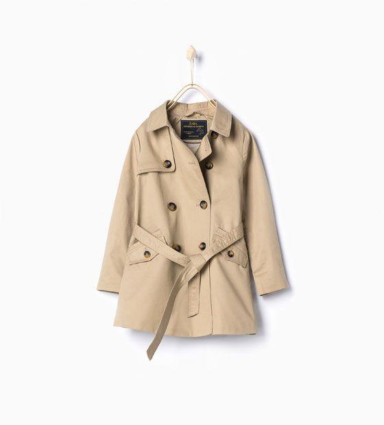 Girl Trench Coat With Belt From Zara Girls Trench Coat