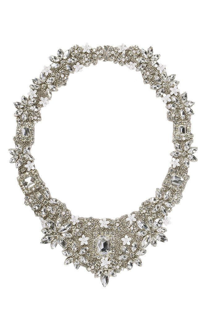 Meadow Bridal Necklace Crystal White