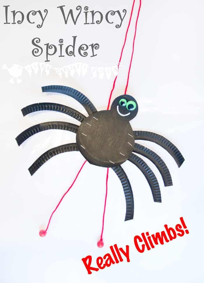 An adorable paper plate Incy Wincy / Itsy Bitsy Spider craft that actually climbs! A fun interactive kids craft to bring the Itsy Bitsy Spider nursery rhyme to life! #kidscraftroom #paperplatecrafts #kidscrafts #spiders #itsybitsy #incywincy #craftsforkids #spidercrafts #nurseryrhymes #kidsactivities #insectcrafts via @KidsCraftRoom