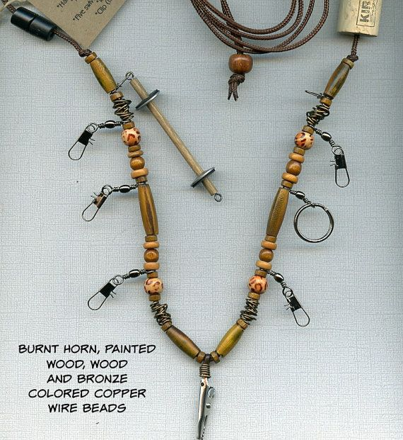 Fly Fishing Lanyard + Tippet Holder with Burnt Horn, Painted Wood ...