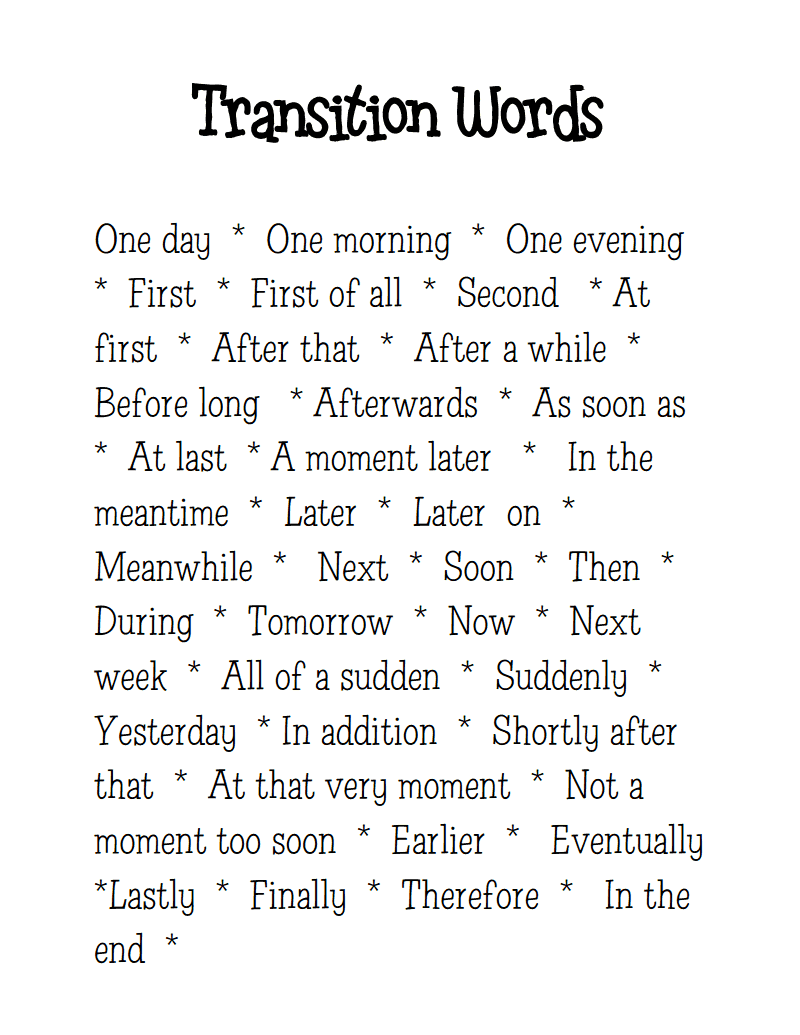list of transition words and phrases for essays