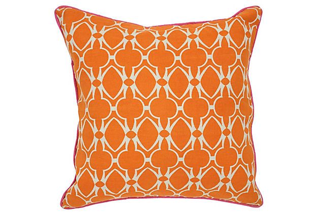 Baja 22x22 Cotton Pillow, Orange on OneKingsLane.com