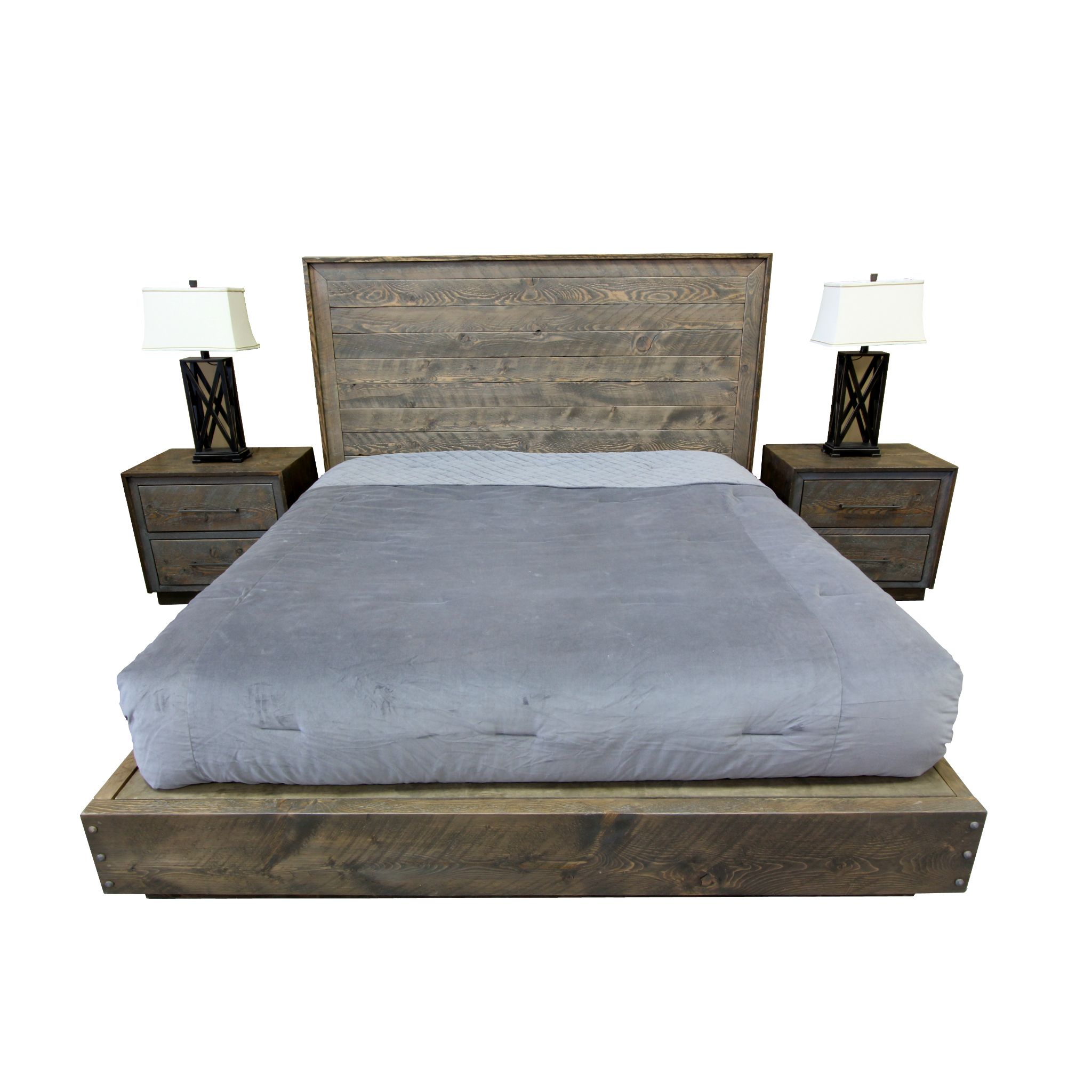 Modern Platform Bed And Nightstands Made From Circle Sawn Fir In A