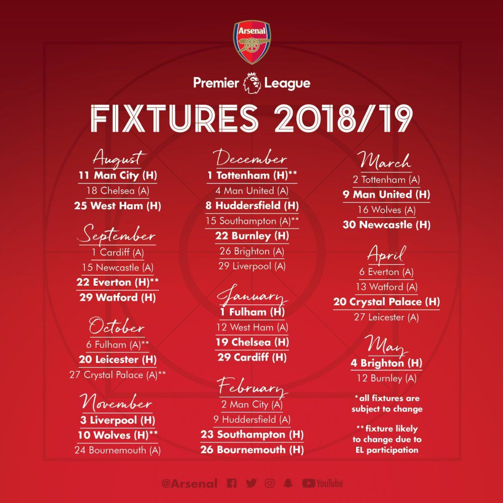 5cd3cbc2b Arsenal Full 2018 19 Premier League Fixture Released