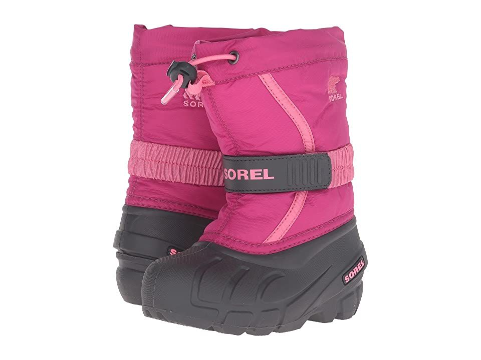 SOREL Kids Flurry (Toddler/Little Kid/Big Kid) (Deep Blush/Tropic Pink) Girls Shoes. Catch all the flurries in the SOREL Kids Flurry! Waterproof and wind-resistant PU coated synthetic textile upper. Adjustable hook-and-loop instep strap. Gusset tongue keeps debris out. Sherpa pile snow cuff. Built-in gaiter. Removable felt liner. Removable 6 mm washable recycled felt inner boot. 25 mm bonded felt frost plug midsole. Multi-dire #SORELKids #Shoes #Boot #GeneralBoot #Red