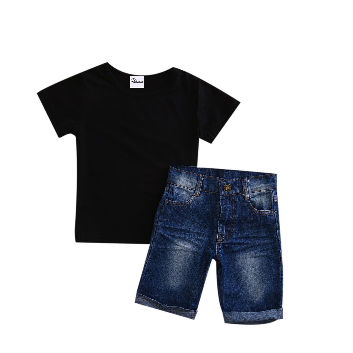 a55723c35829 Click to Buy    Hot sell 2PCS Summer Toddler Baby Boys Clothes Short Sleeve  Tops + Jeans Set Kids Clothing Outfits 0 to 5T  Affiliate