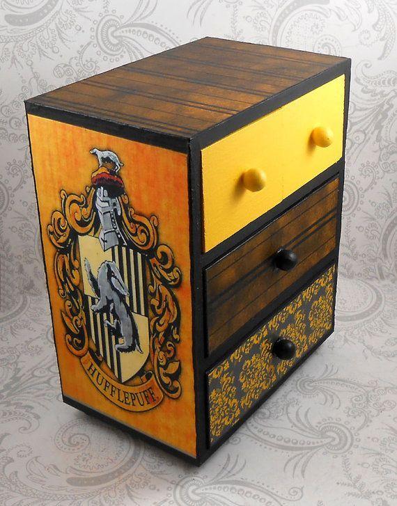 Custom Tassorosso nero e giallo Hogwart casa Harry Potter Stash portagioie