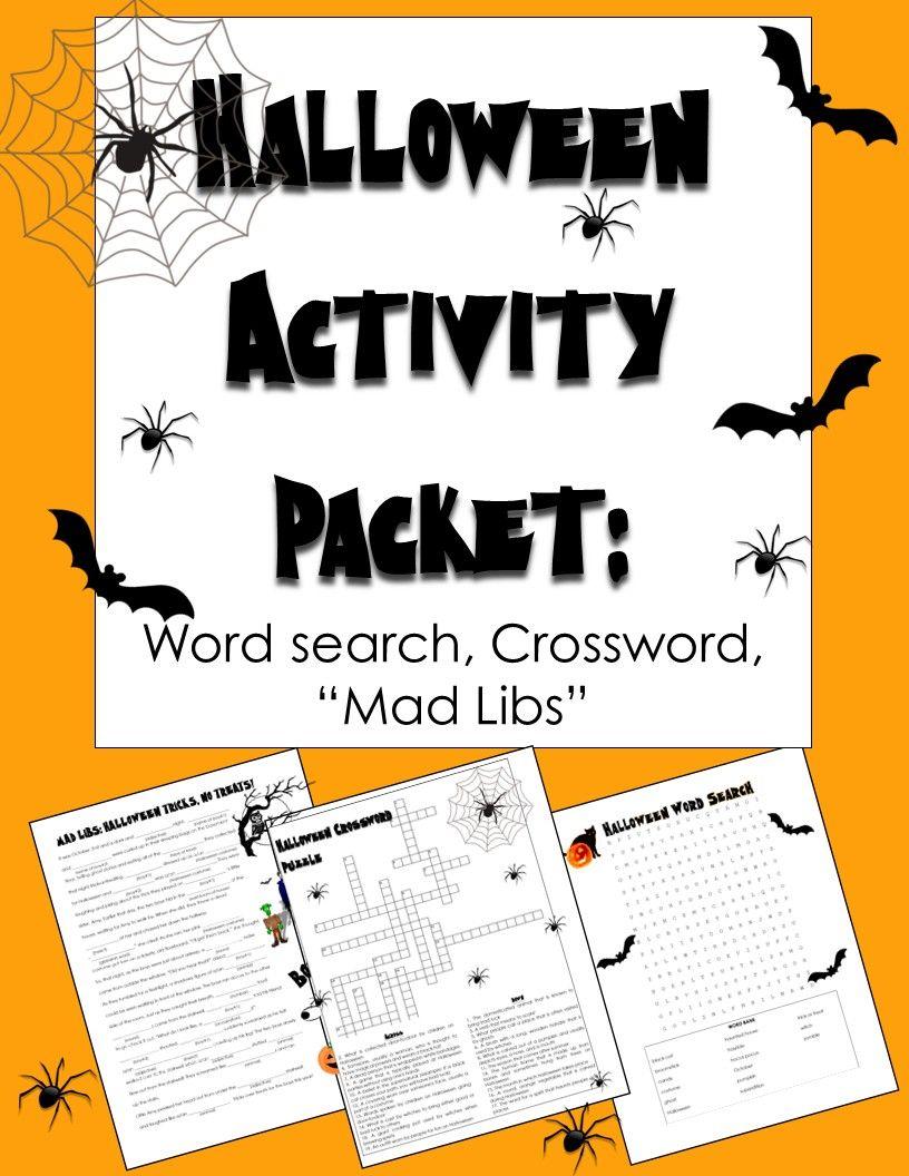 Halloween Activities: Crossword Puzzle, Word Search,