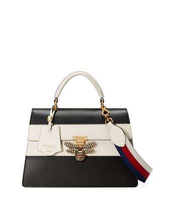 6723276dd Linea+Striped+Bee+Top+Handle+Bag,+Black/White+by+Gucci+at+Neiman+Marcus.