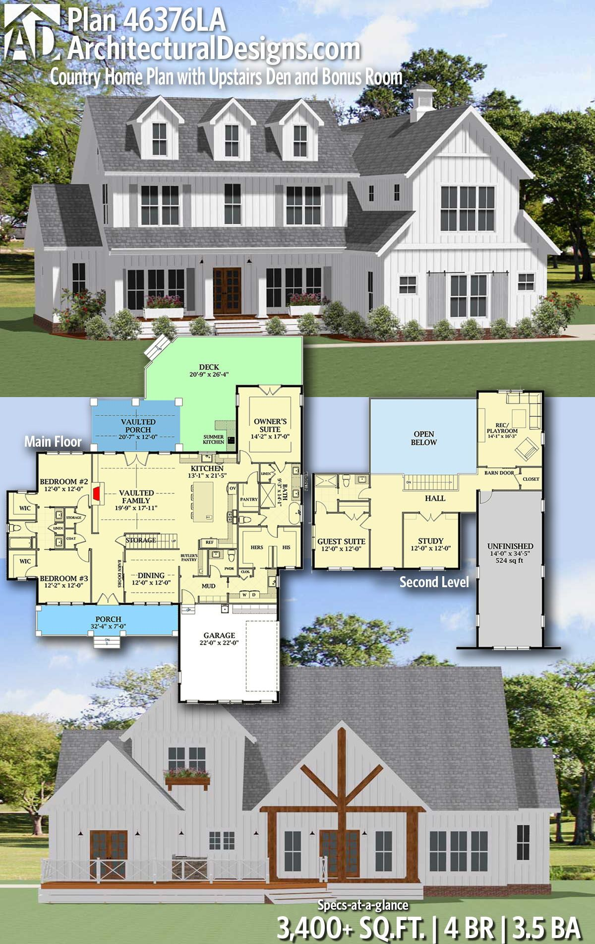 Plan 46376la Country Home Plan With Upstairs Den And Bonus Room House Plans Farmhouse Country House Plans New House Plans