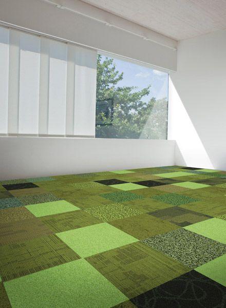 Green interface carpet tiles collection for floors for for Grass carpet tiles