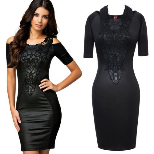 Womens Floral Lace Wrapped Bodycon off Shoulder Party Evening Prom Dress Size 12 | eBay