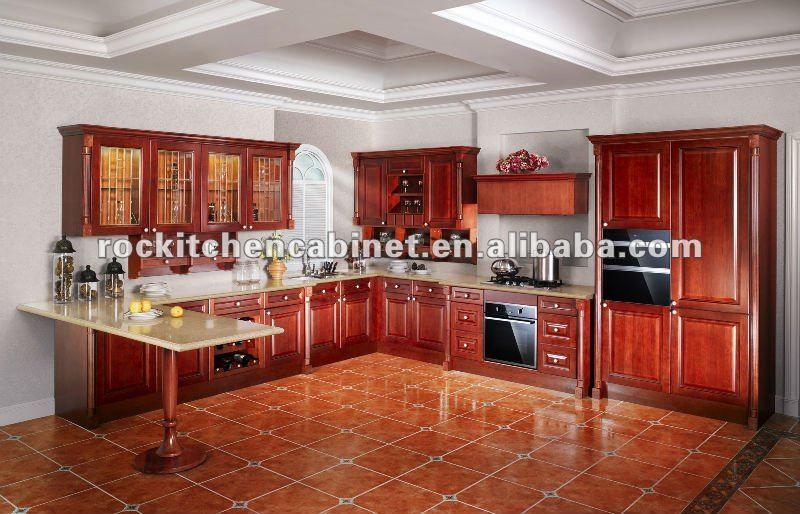Best Modern Design Red Solid Wood Kitchen Cabinet 1 300 Avec