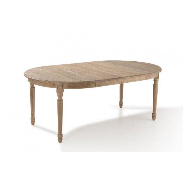Table ronde extensible bois chêne clair 120 200cm MEDICIS - salle a manger louis