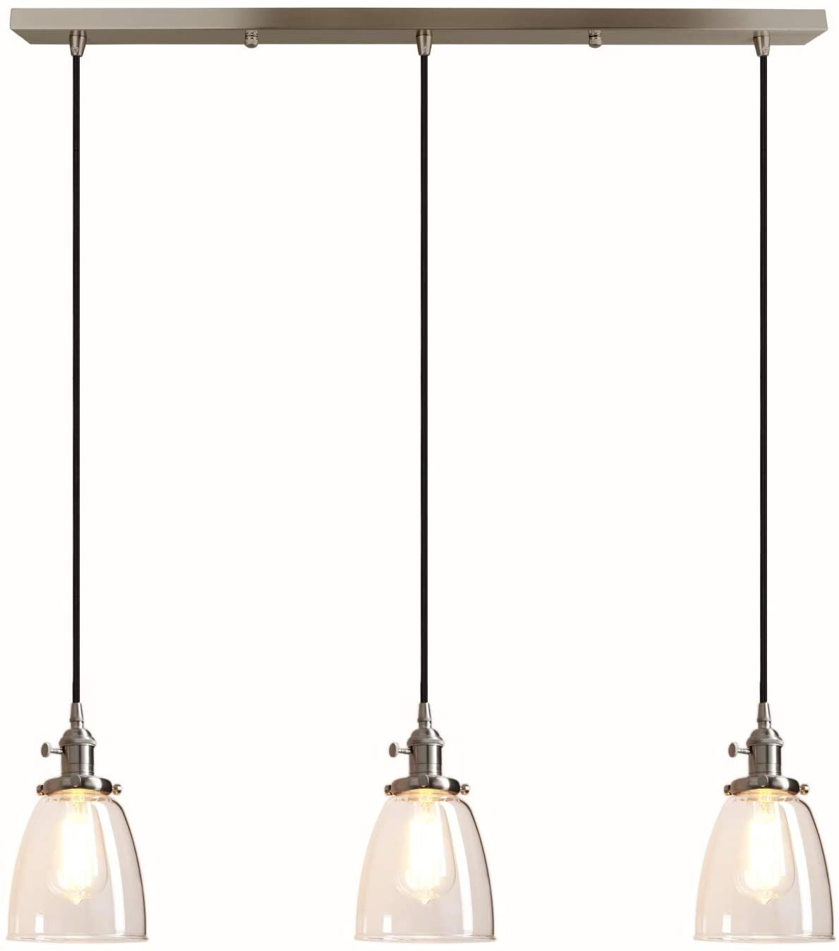 Pathson Industrial 3 Light Pendant Lighting Kitchen Island Hanging Lamps With Oval Clear G Clear Glass Pendant Light Pendant Light Fixtures Glass Pendant Light