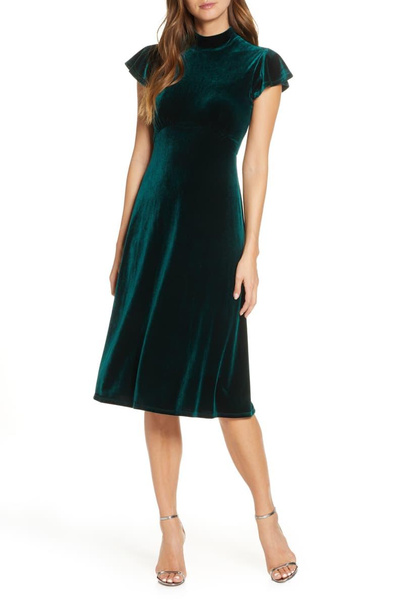 Vince Camuto Mock Neck Velvet Dress Nordstrom High Neck Midi Dress Velvet Dress Dresses [ 1196 x 780 Pixel ]