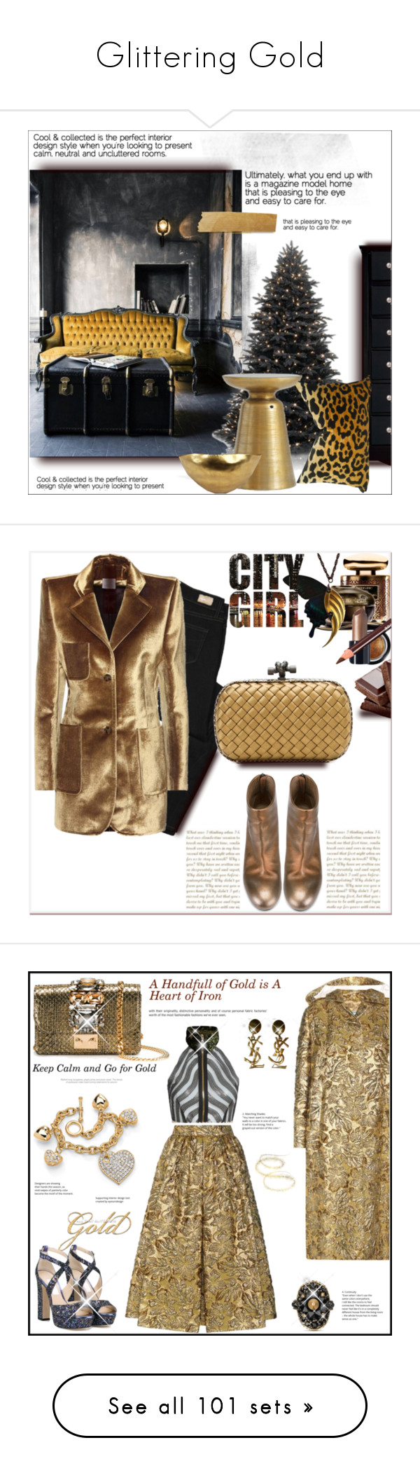 """""""Glittering Gold"""" by kittyfantastica ❤ liked on Polyvore featuring interior, interiors, interior design, home, home decor, interior decorating, Pottery Barn, Tom Dixon, Terry de Gunzburg and Guerlain"""